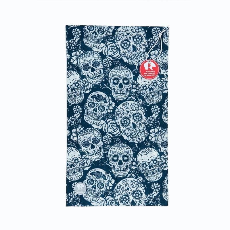 Ultralight Tube Reversible Pile Stretch - White Blu Skulls - Donna Bullish Made in Italy