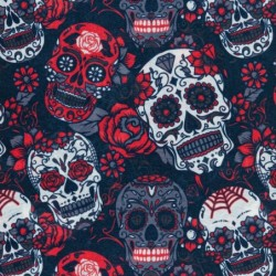 Ultralight Tube Reversible Pile Stretch - Red White Skulls - Donna Bullish Made in Italy