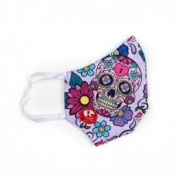 Mascherina Flowers Pink Skulls - Bambino Bullish Made in Italy
